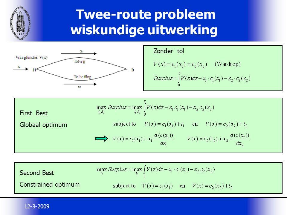 Twee-route probleem wiskundige uitwerking