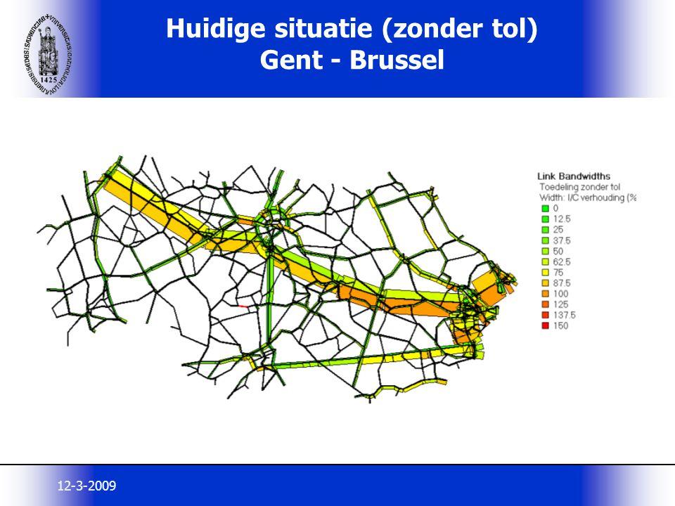 Huidige situatie (zonder tol) Gent - Brussel