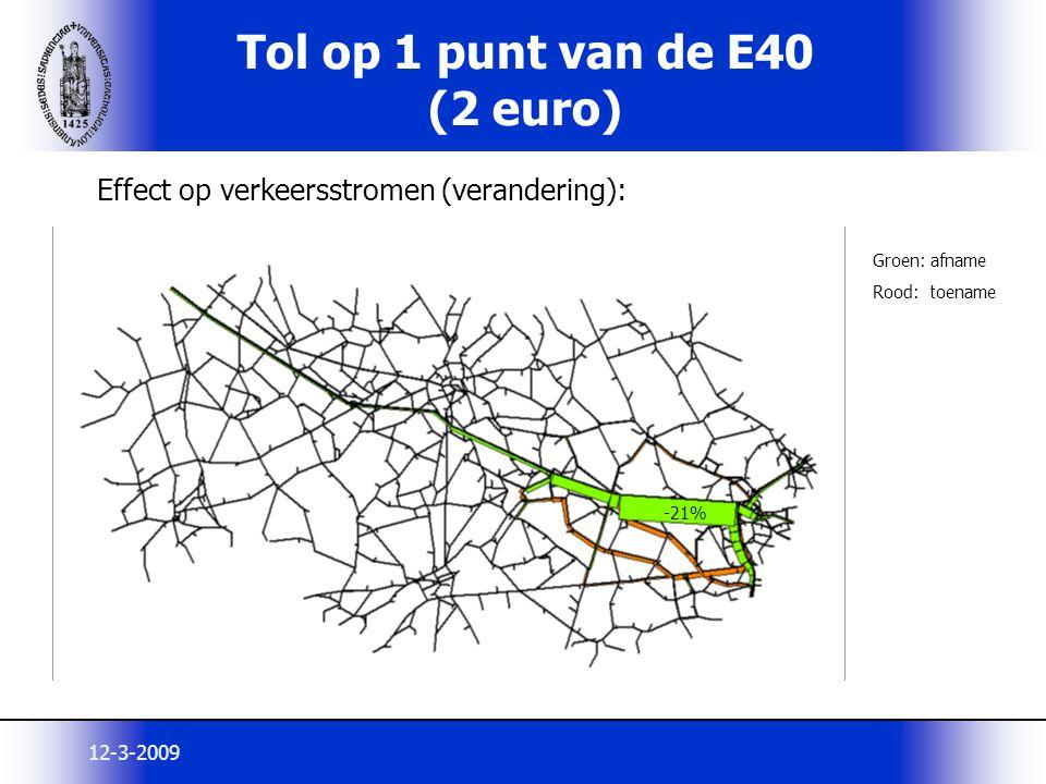Tol op 1 punt van de E40 (2 euro)