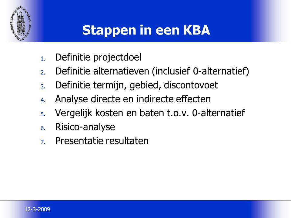 Stappen in een KBA Definitie projectdoel
