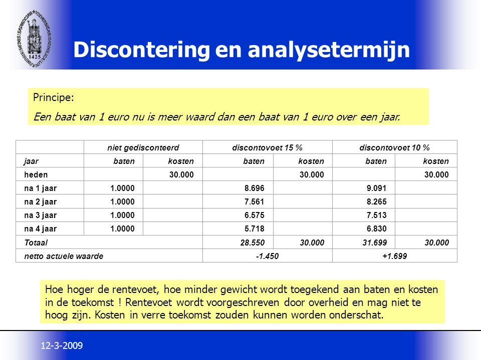 Discontering en analysetermijn