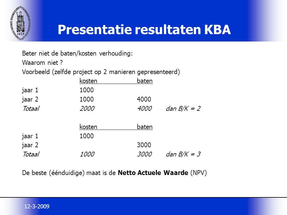 Presentatie resultaten KBA