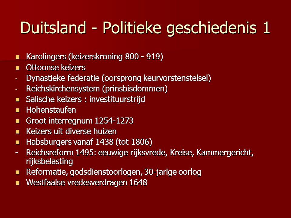 Duitsland - Politieke geschiedenis 1