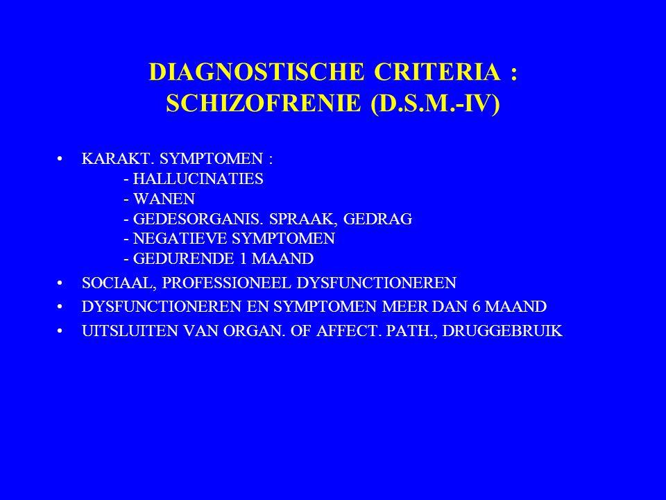 DIAGNOSTISCHE CRITERIA : SCHIZOFRENIE (D.S.M.-IV)