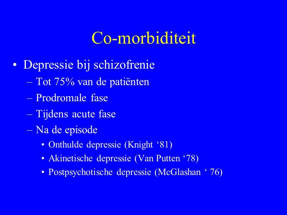 Co-morbiditeit Depressie bij schizofrenie Tot 75% van de patiënten