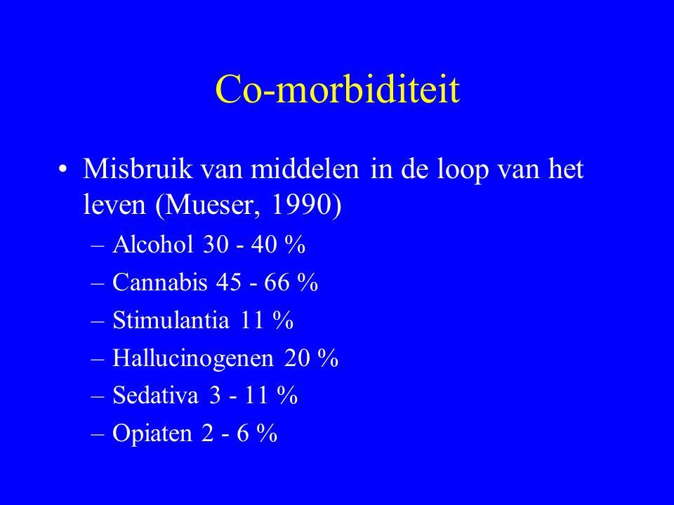 Co-morbiditeit Misbruik van middelen in de loop van het leven (Mueser, 1990) Alcohol 30 - 40 % Cannabis 45 - 66 %