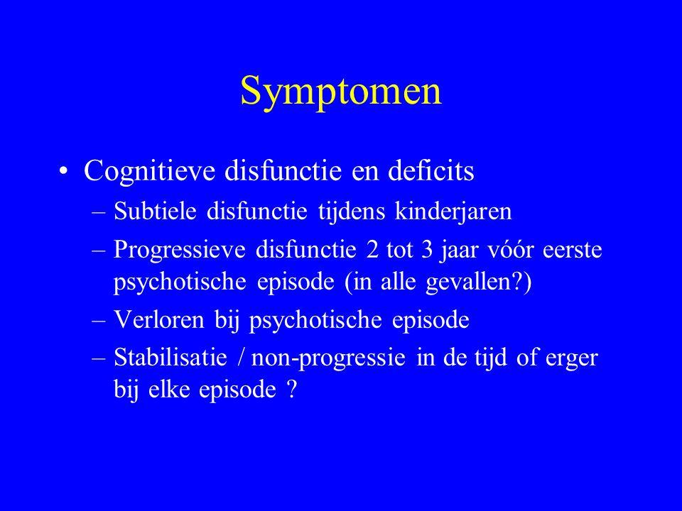 Symptomen Cognitieve disfunctie en deficits