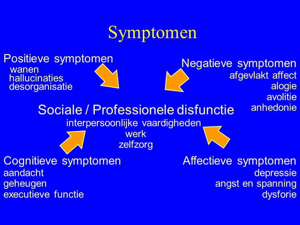 Symptomen Sociale / Professionele disfunctie Positieve symptomen wanen