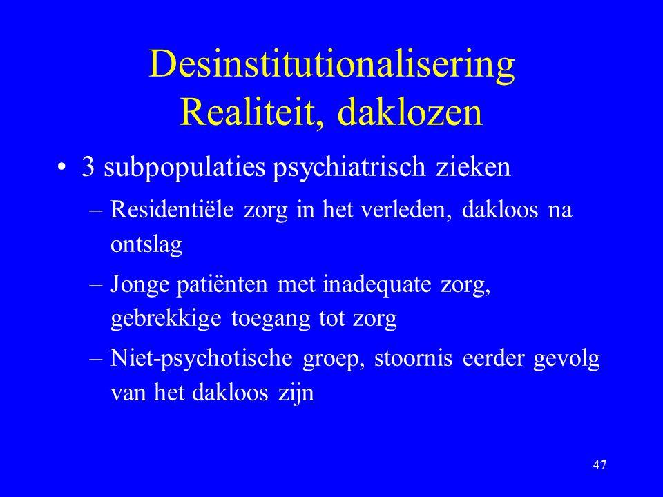 Desinstitutionalisering Realiteit, daklozen