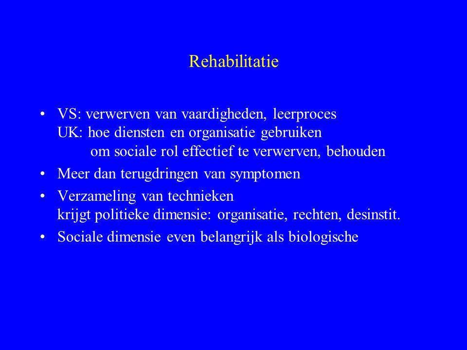 Rehabilitatie VS: verwerven van vaardigheden, leerproces UK: hoe diensten en organisatie gebruiken om sociale rol effectief te verwerven, behouden.