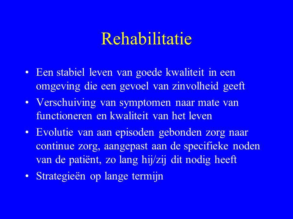 Rehabilitatie Een stabiel leven van goede kwaliteit in een omgeving die een gevoel van zinvolheid geeft.