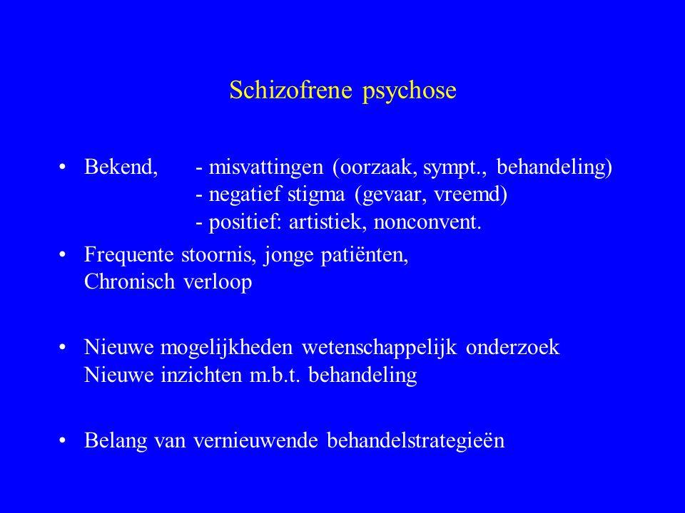 Schizofrene psychose Bekend, - misvattingen (oorzaak, sympt., behandeling) - negatief stigma (gevaar, vreemd) - positief: artistiek, nonconvent.