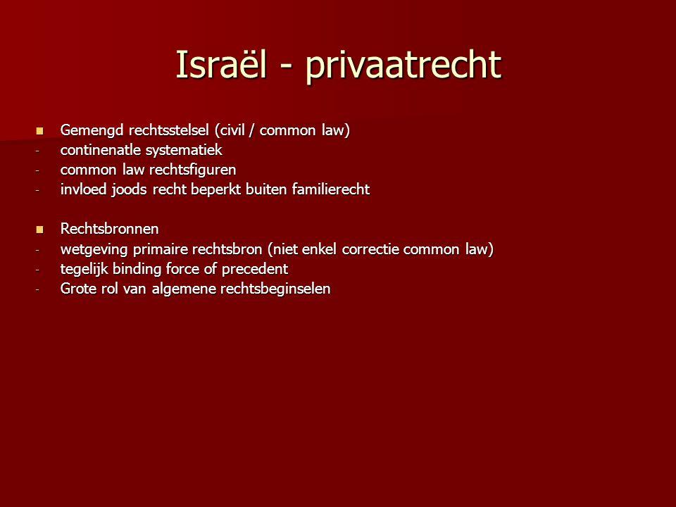 Israël - privaatrecht Gemengd rechtsstelsel (civil / common law)
