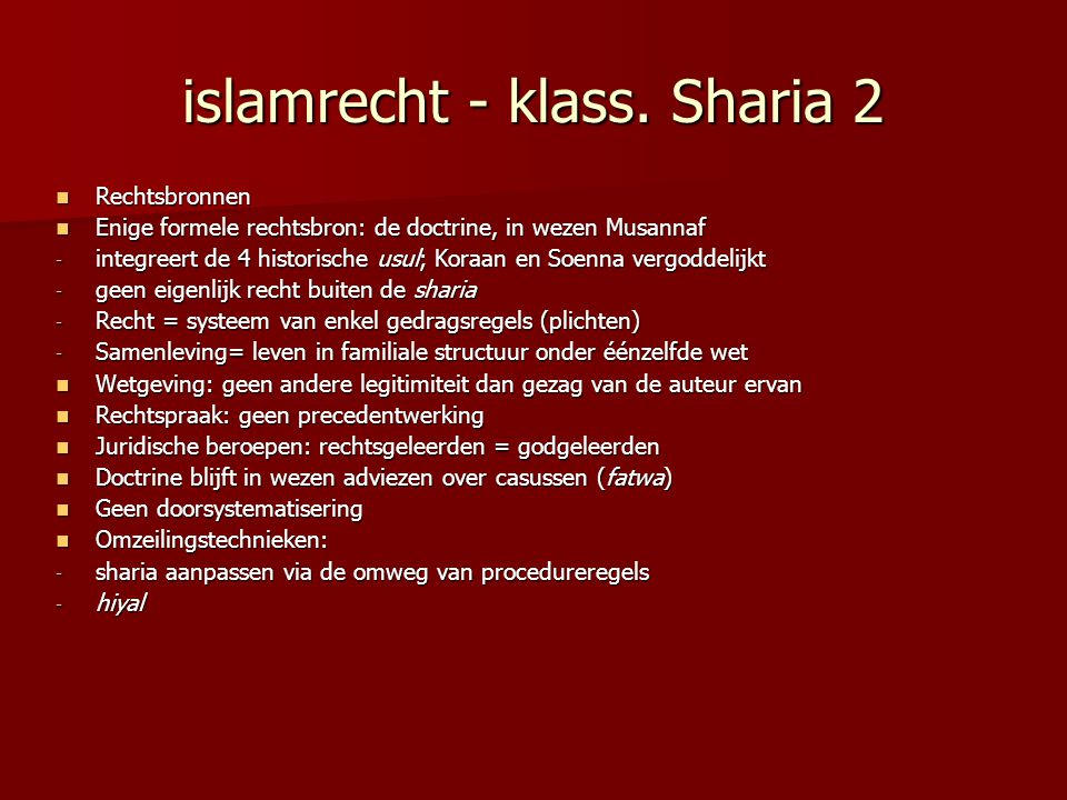 islamrecht - klass. Sharia 2