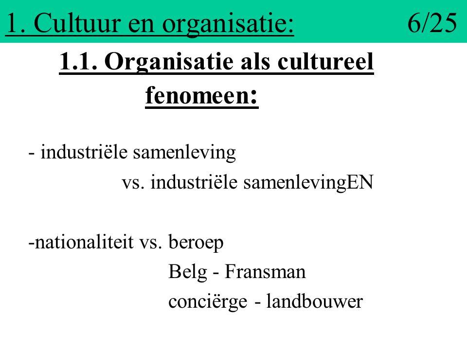 1. Cultuur en organisatie: 6/25