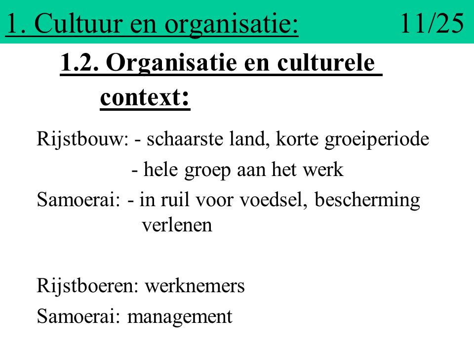 1. Cultuur en organisatie: 11/25