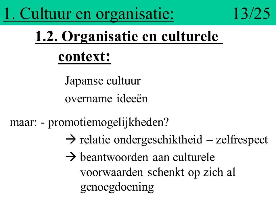1. Cultuur en organisatie: 13/25