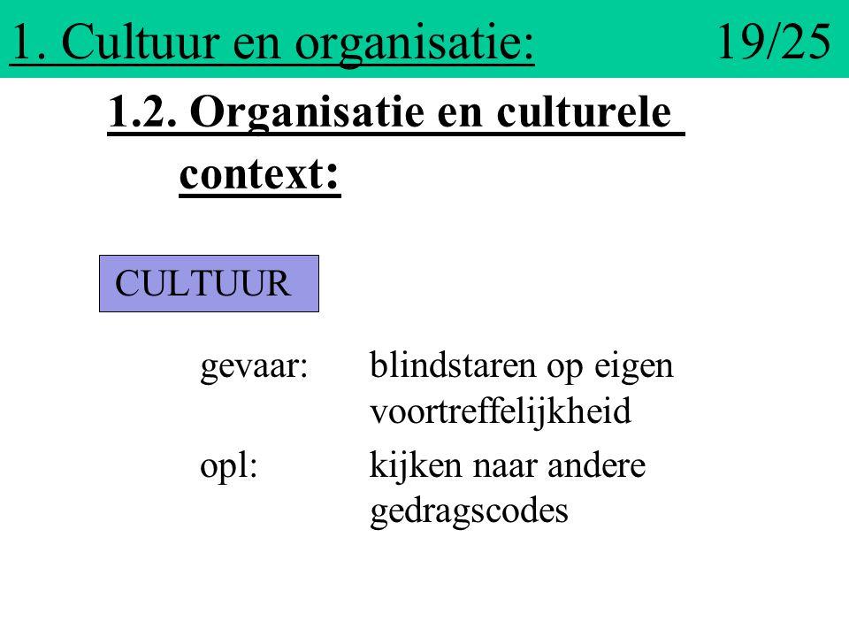 1. Cultuur en organisatie: 19/25
