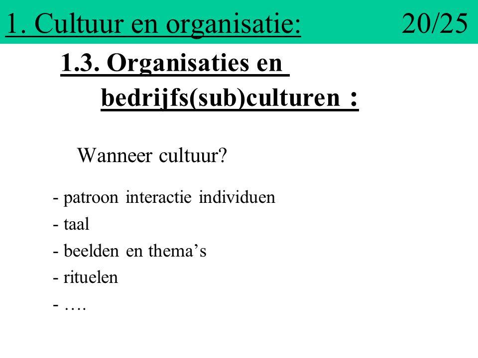1. Cultuur en organisatie: 20/25