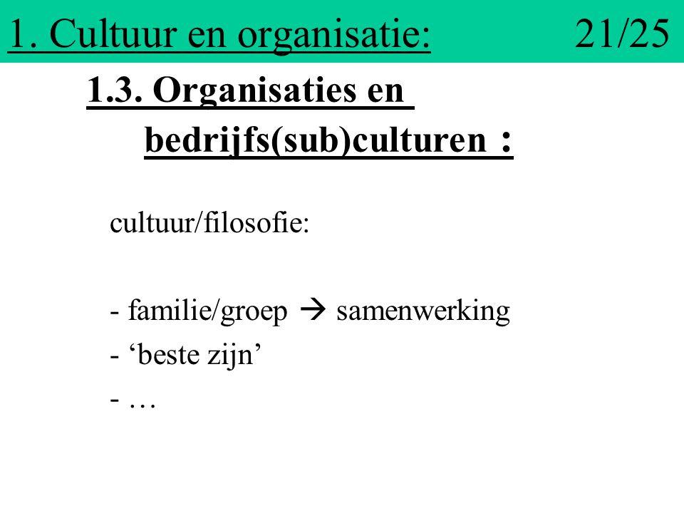 1. Cultuur en organisatie: 21/25