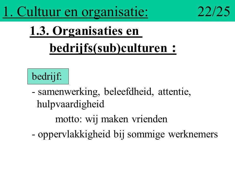 1. Cultuur en organisatie: 22/25