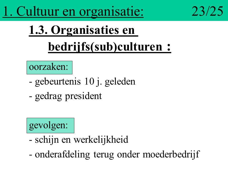 1. Cultuur en organisatie: 23/25