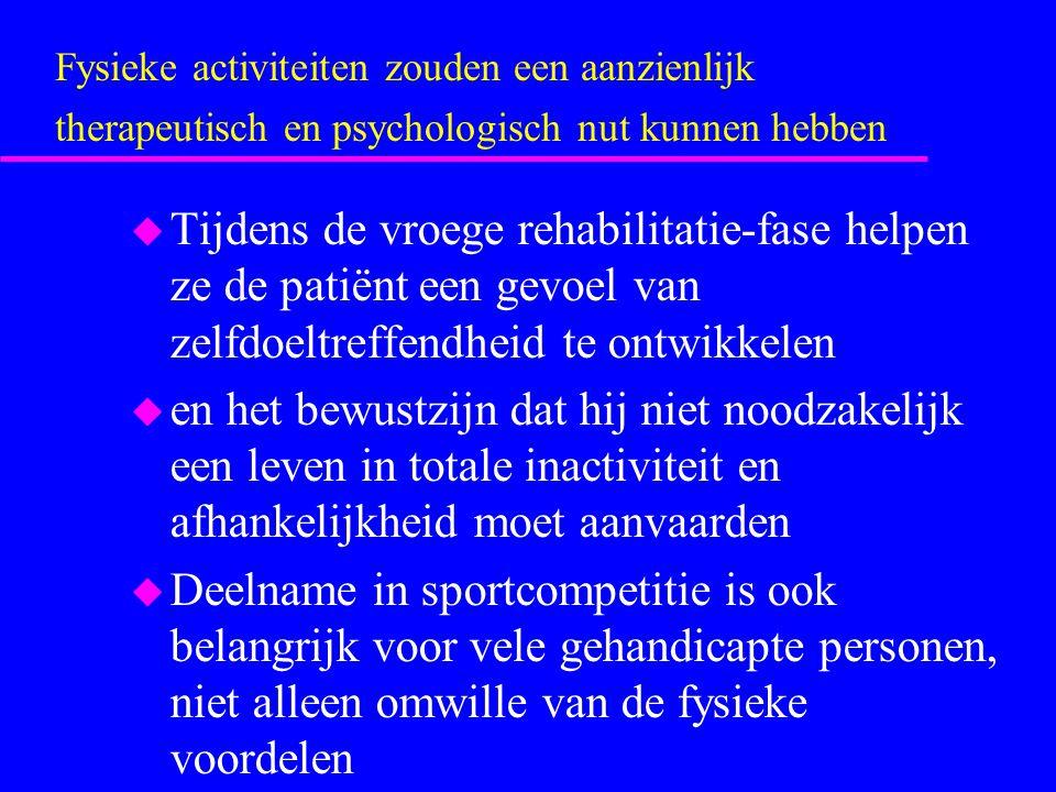 Fysieke activiteiten zouden een aanzienlijk therapeutisch en psychologisch nut kunnen hebben
