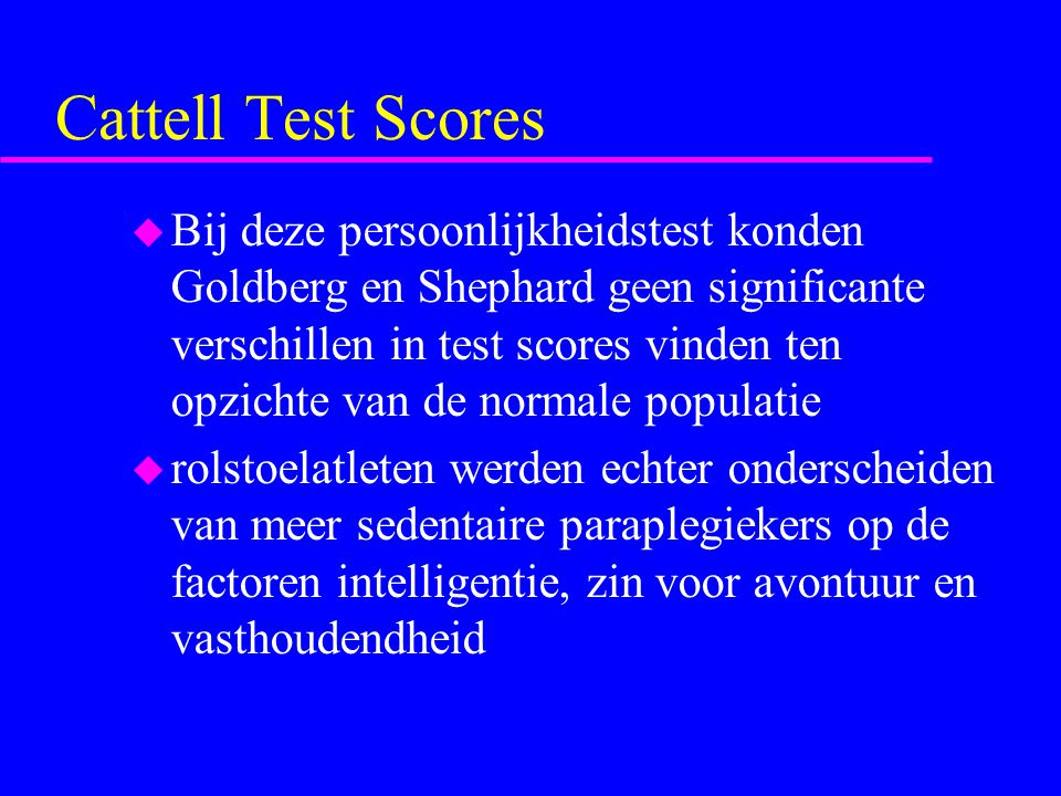Cattell Test Scores