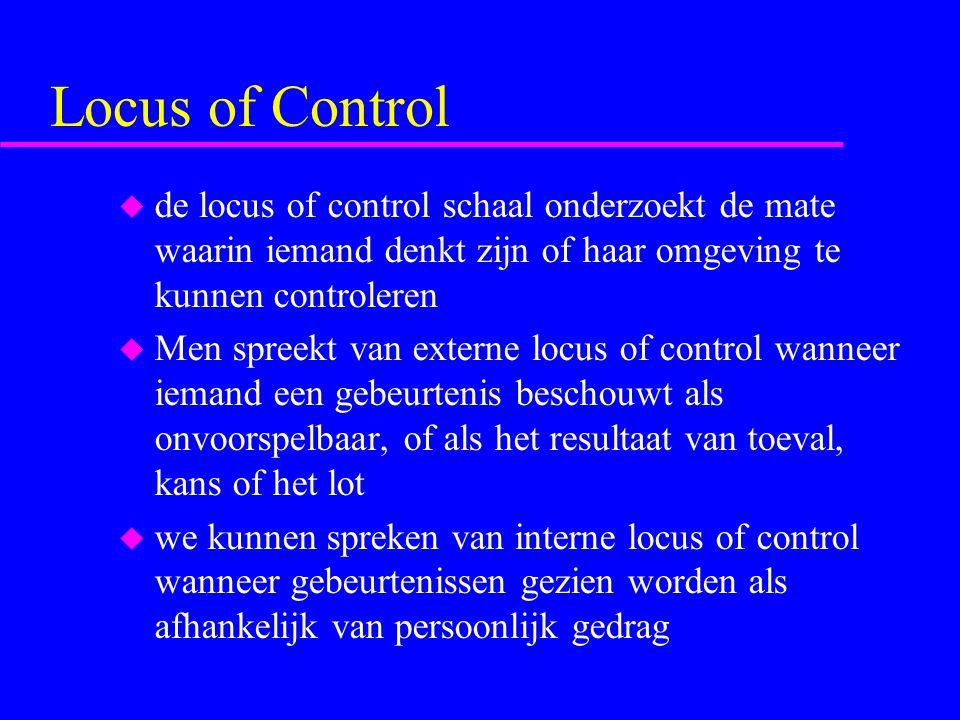 Locus of Control de locus of control schaal onderzoekt de mate waarin iemand denkt zijn of haar omgeving te kunnen controleren.