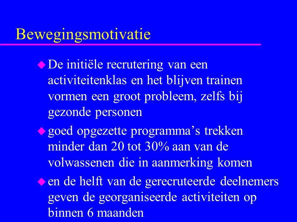 Bewegingsmotivatie De initiële recrutering van een activiteitenklas en het blijven trainen vormen een groot probleem, zelfs bij gezonde personen.