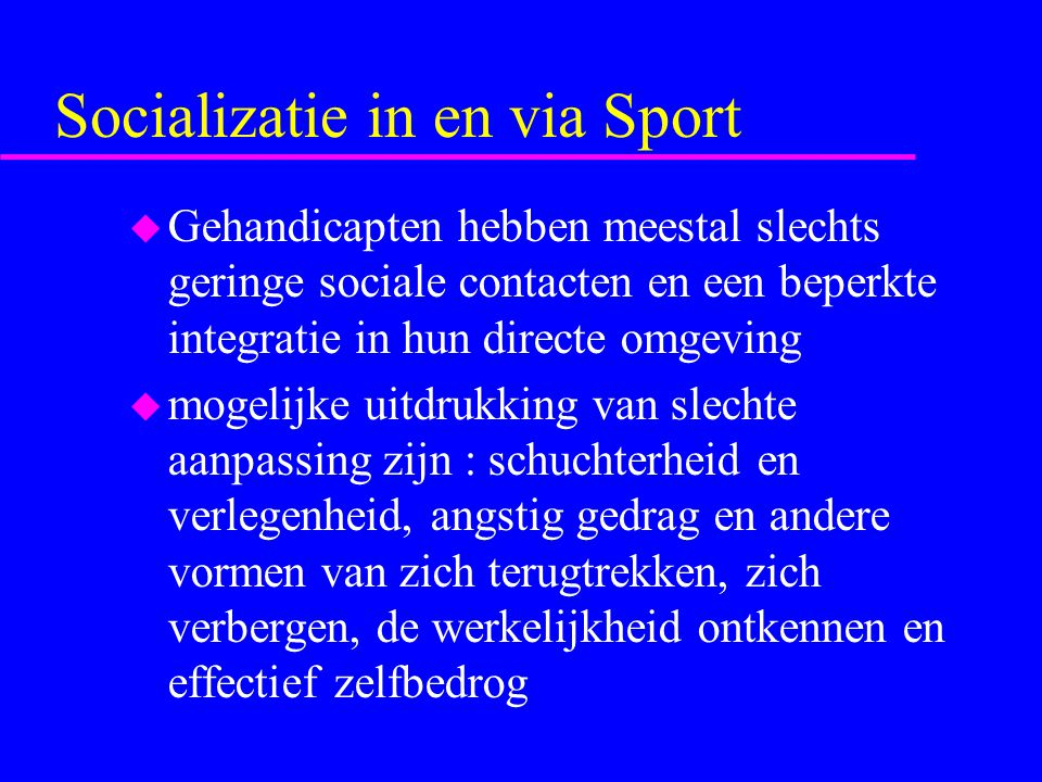 Socializatie in en via Sport