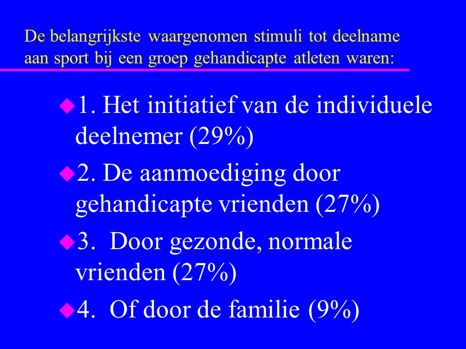 1. Het initiatief van de individuele deelnemer (29%)