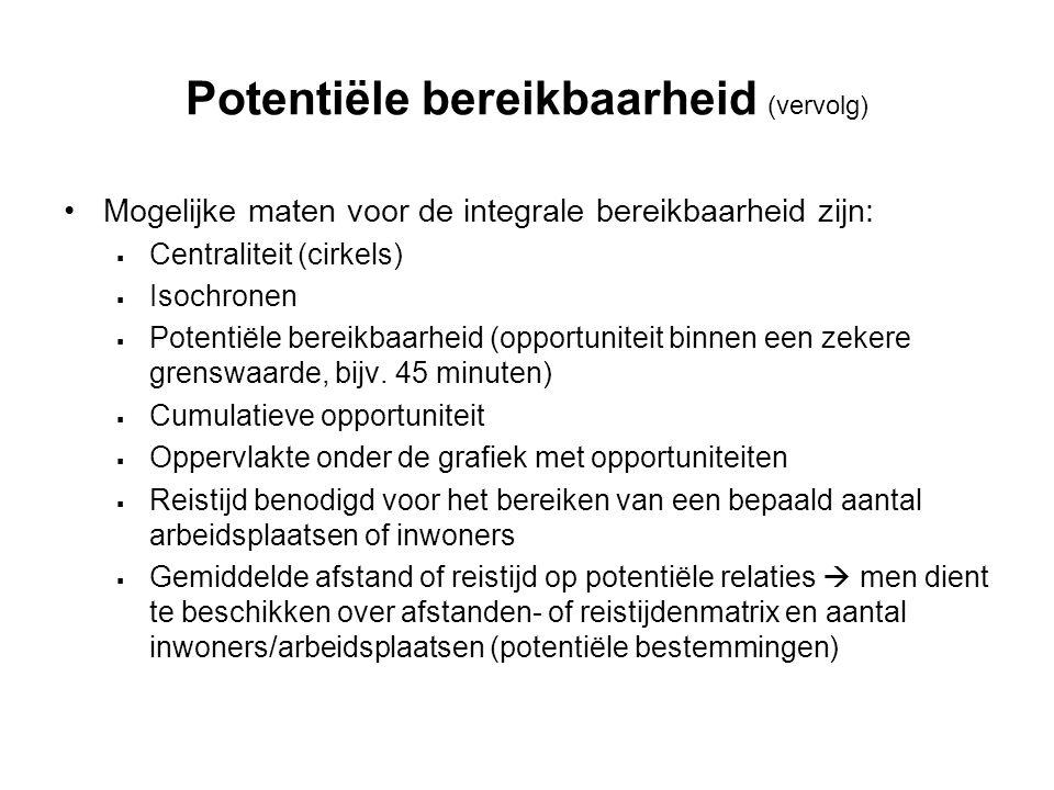 Potentiële bereikbaarheid (vervolg)