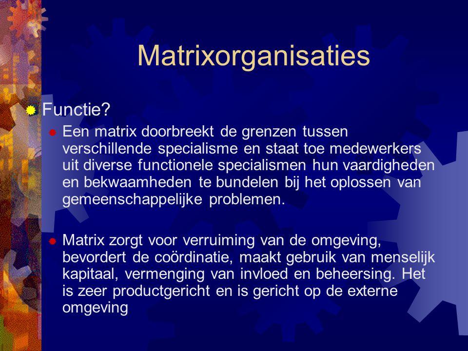 Matrixorganisaties Functie