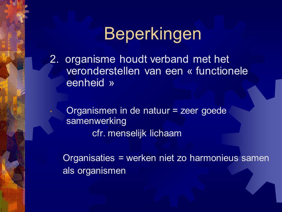 Beperkingen 2. organisme houdt verband met het veronderstellen van een « functionele eenheid » Organismen in de natuur = zeer goede samenwerking.