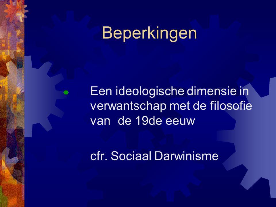 Beperkingen Een ideologische dimensie in verwantschap met de filosofie van de 19de eeuw.
