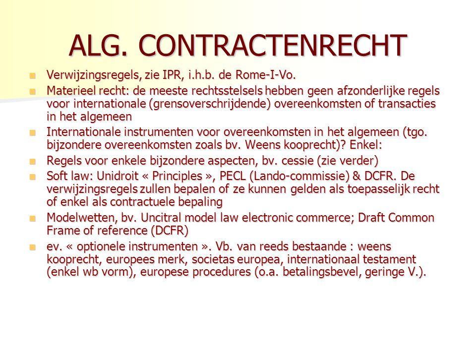 ALG. CONTRACTENRECHT Verwijzingsregels, zie IPR, i.h.b. de Rome-I-Vo.