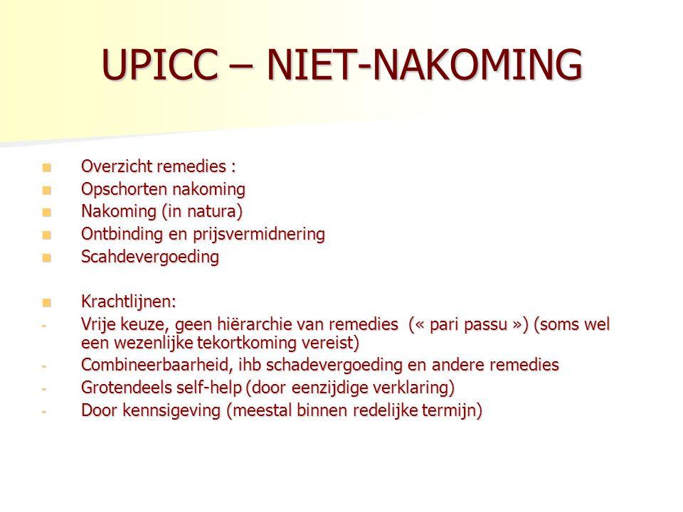 UPICC – NIET-NAKOMING Overzicht remedies : Opschorten nakoming
