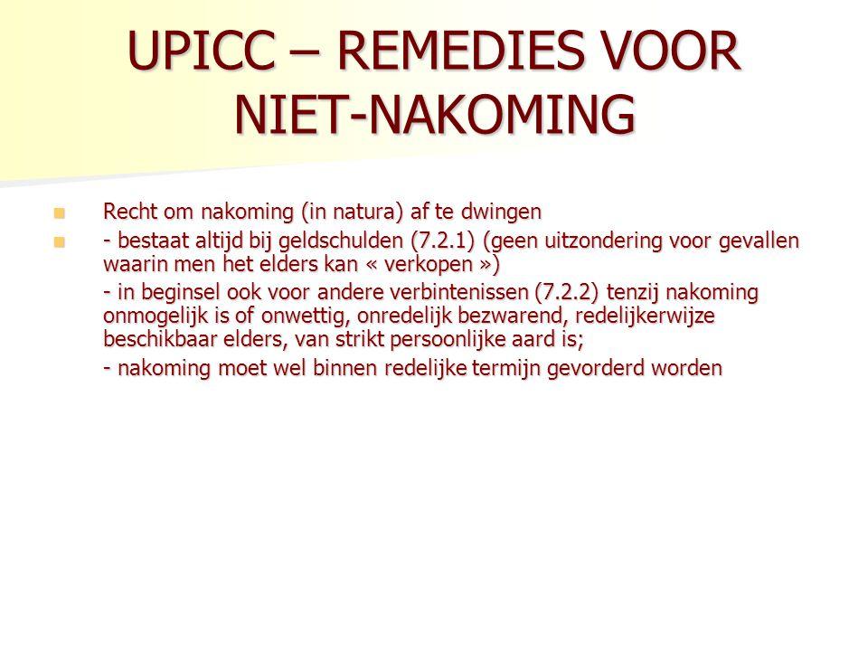 UPICC – REMEDIES VOOR NIET-NAKOMING