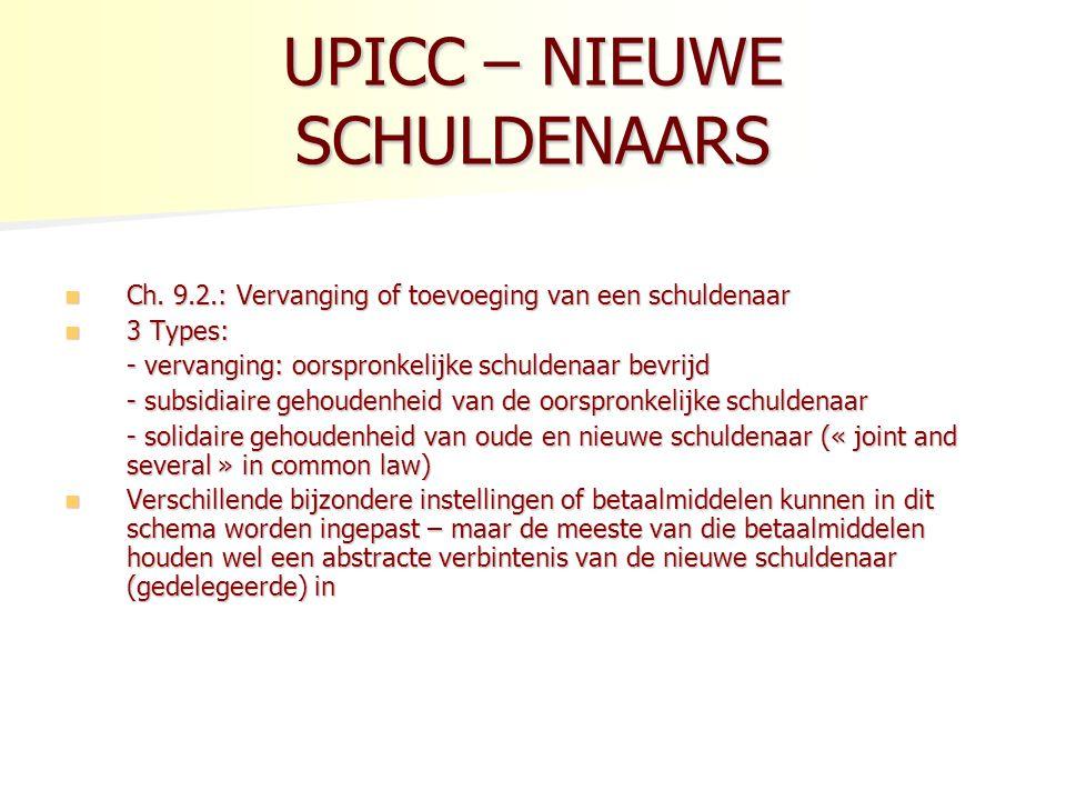 UPICC – NIEUWE SCHULDENAARS