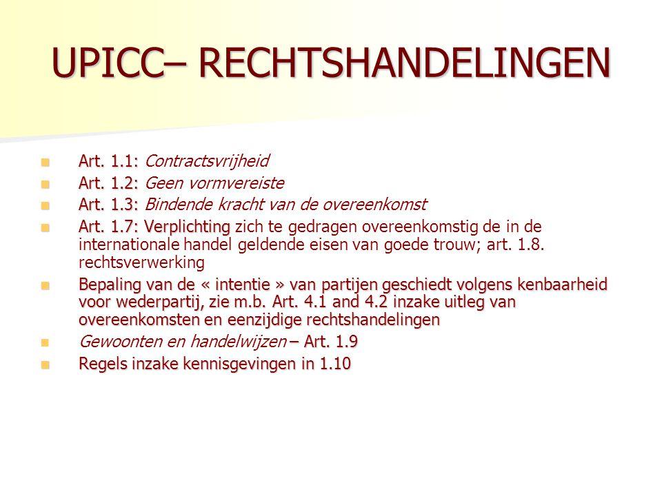 UPICC– RECHTSHANDELINGEN