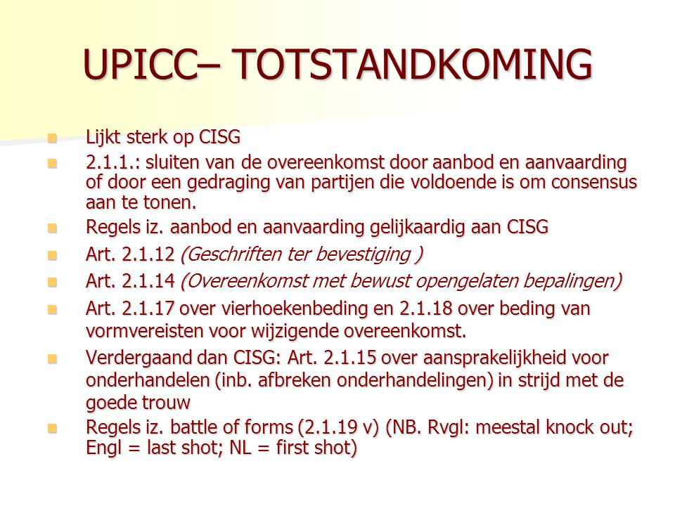 UPICC– TOTSTANDKOMING