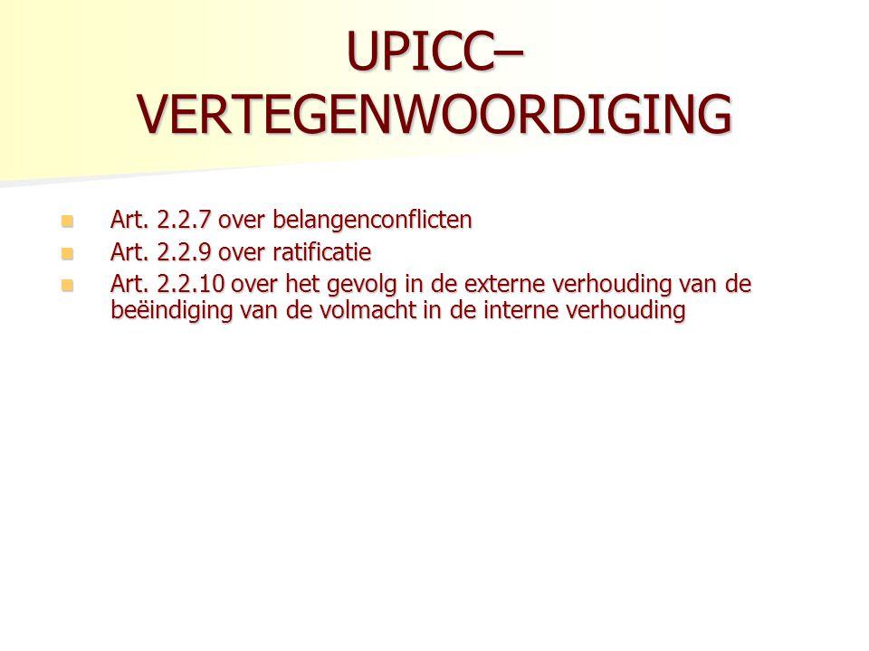 UPICC– VERTEGENWOORDIGING