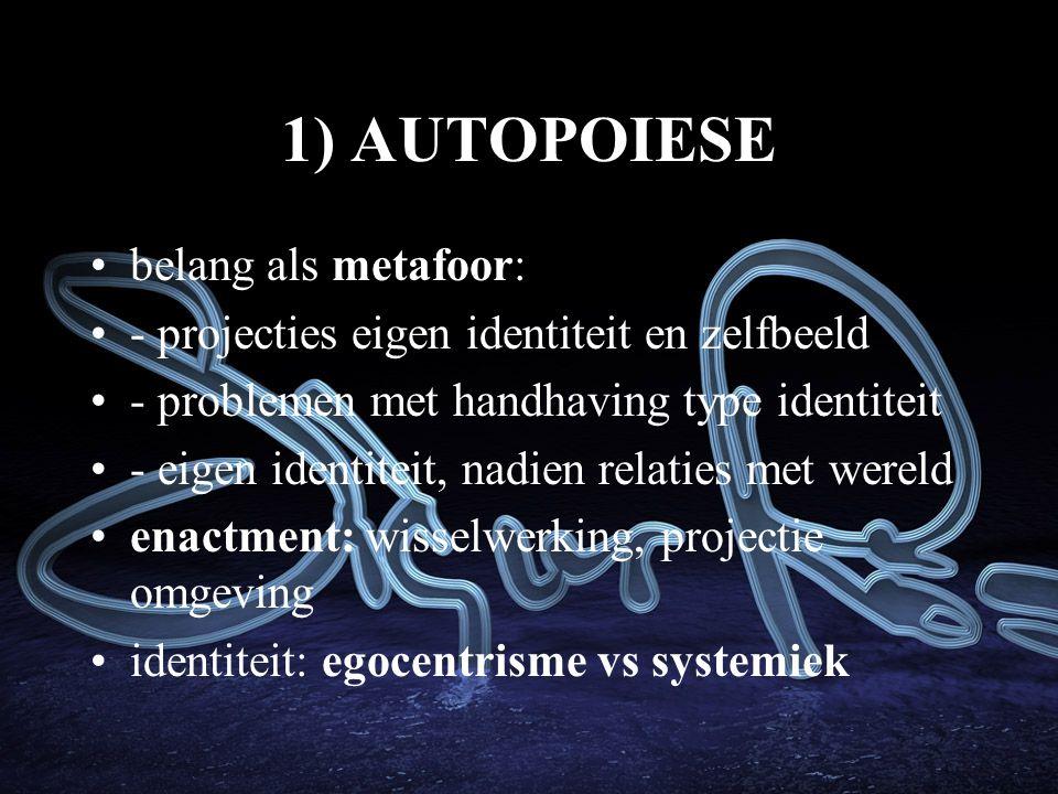 1) AUTOPOIESE belang als metafoor:
