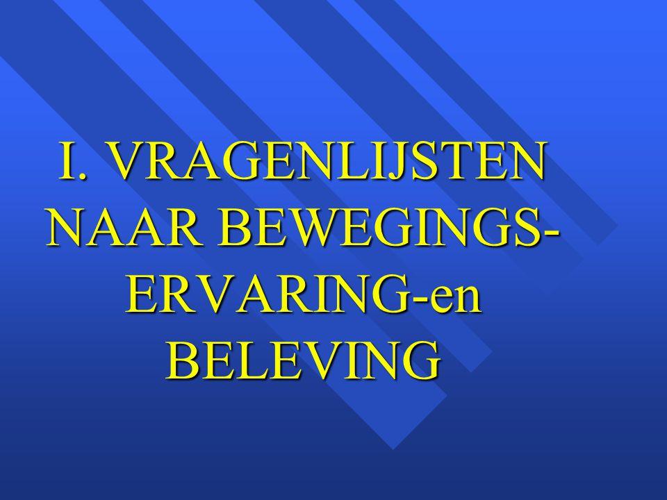 I. VRAGENLIJSTEN NAAR BEWEGINGS- ERVARING-en BELEVING