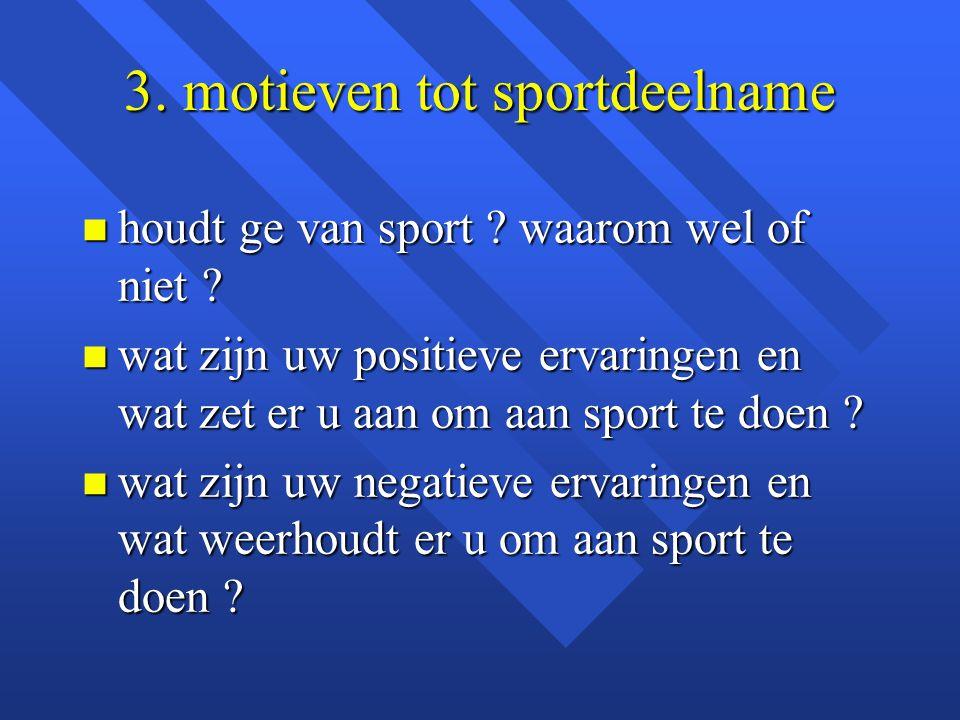 3. motieven tot sportdeelname