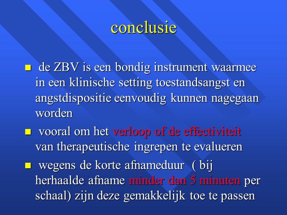 conclusie de ZBV is een bondig instrument waarmee in een klinische setting toestandsangst en angstdispositie eenvoudig kunnen nagegaan worden.