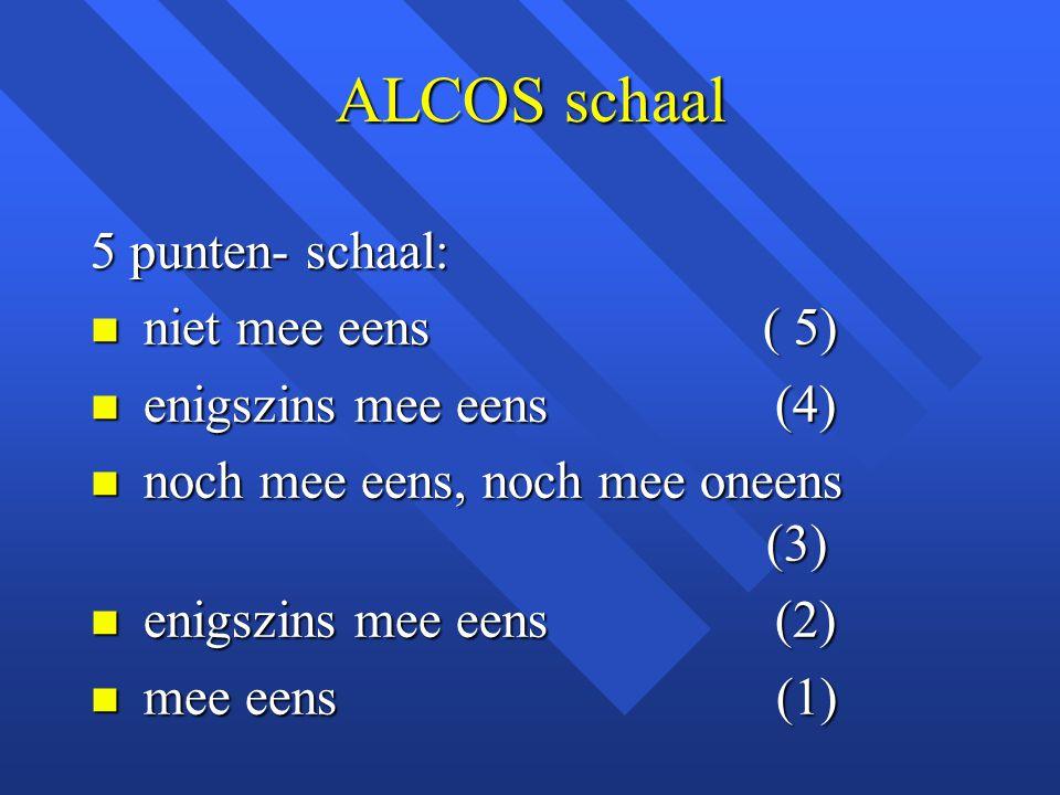 ALCOS schaal 5 punten- schaal: niet mee eens ( 5)