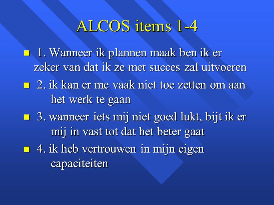 ALCOS items 1-4 1. Wanneer ik plannen maak ben ik er zeker van dat ik ze met succes zal uitvoeren.