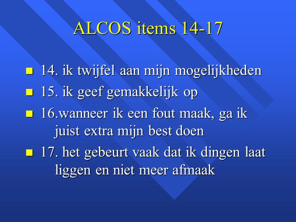 ALCOS items 14-17 14. ik twijfel aan mijn mogelijkheden